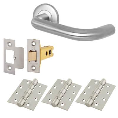 Altro 16mm Extended Return to Door Handle on Rose - Door Kit - 304 Satin Stainless Steel