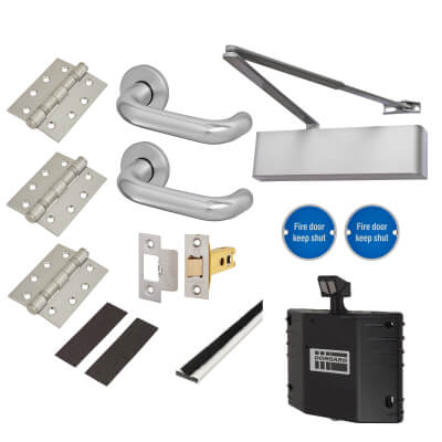 Heavy Duty Lever on Rose Fire Door Kit with Hold Open Device - Latch - Aluminium