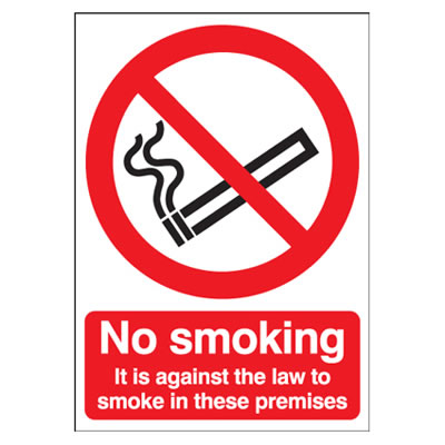 No Smoking It Is Against The Law To Smoke - 210 x 148mm - Self Adhesive Plastic