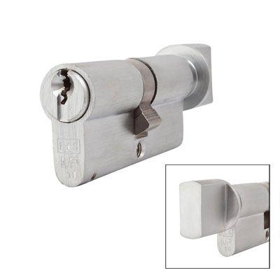 Eurospec MP10 - Euro Cylinder and Turn - 35[k] + 35mm - Satin Chrome  - Keyed Alike)