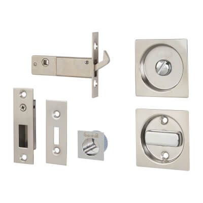 KLÜG Square Flush Privacy Set with Bolt - Stainless Steel Grade 304 - Polished