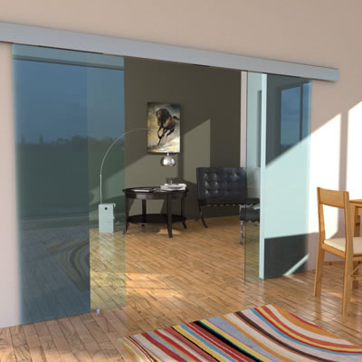 Ducasse 80kg Twin OPVD Opposite Synchronised Glass Sliding Door System - 3 metre kit)