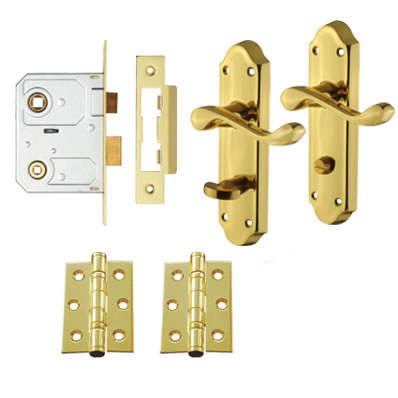 Aglio Ashmead Handle Door Kit - Bathroom Lock Set - Polished Brass