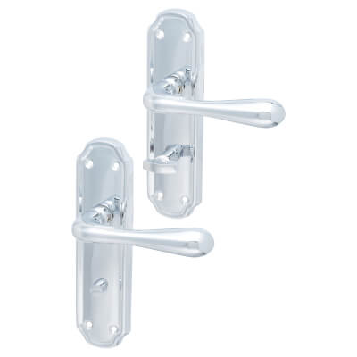 Elan Genoa Door Handle - Bathroom Set - Polished Chrome