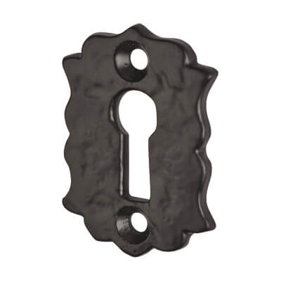Elden Floral Escutcheon - Keyhole - Antique Black Iron