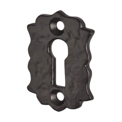 Elden Floral Escutcheon - Keyhole - Antique Black Iron