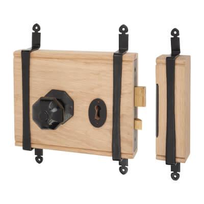 Olde Forge Oak Box Door Lock - Antique Black Iron Knob