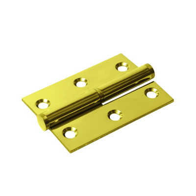 Lift-Off Hinge - 75 x 53 x 2mm - Right Hand - PVD Brass