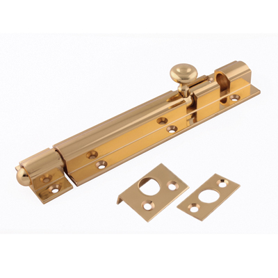 Decorative Straight Barrel Bolt - 150 x 38mm - Polished Brass)