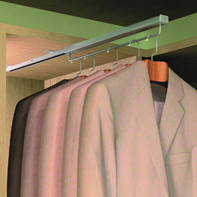 Slide Out Wardrobe Hanging Rail - 290mm - Full Extension