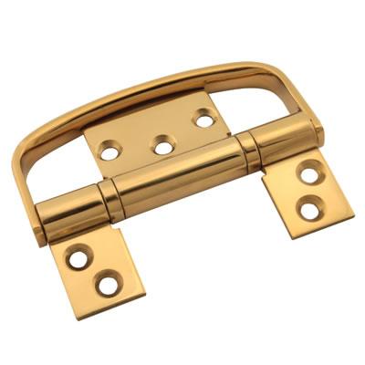 Flush Handle Hinge Set - 100 x 66 x 3mm - PVD Brass