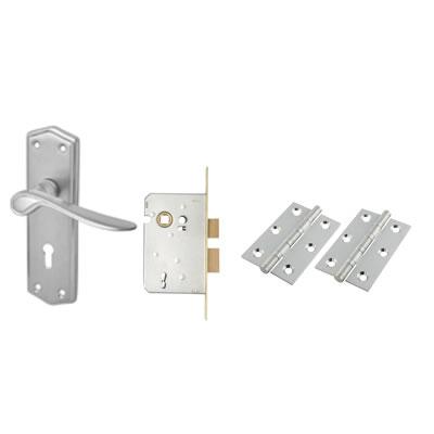 Aglio Rome Door Kit - Keyhole Lockset - Satin Chrome