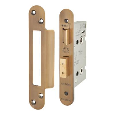 A-Spec Architectural Bathroom Lock - 65mm Case - 44mm Backset - Radius - Florentine Bronze