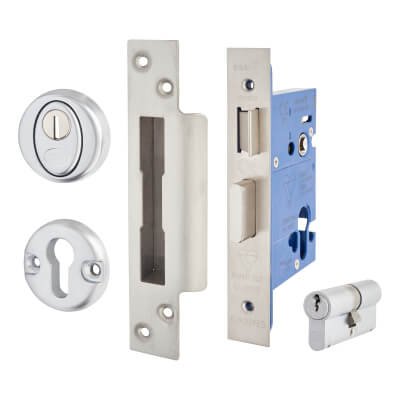 A-Spec BS3621 Euro Sashlock & Double Cylinder - 78mm Case - 57mm Backset - Satin Stainless