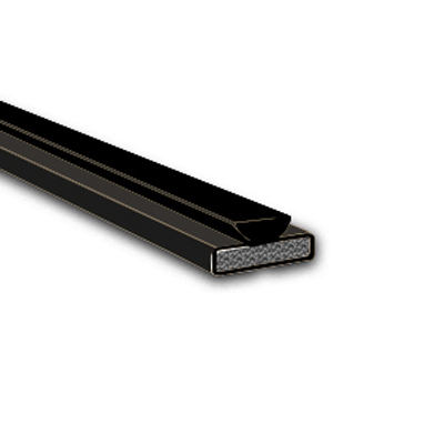 Fire & Smoke Intumescent Strip - 20 x 4 x 2100mm with Brush Pile - Black - Pack 10