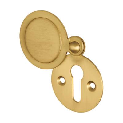 Jedo Covered Escutcheon - Keyhole - Satin Brass