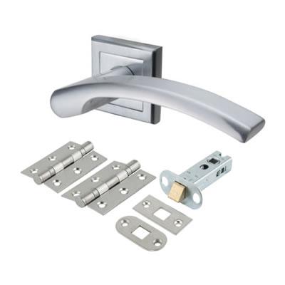 Morello Element Lever Door Handles on Rose - Door Kit - Satin Chrome