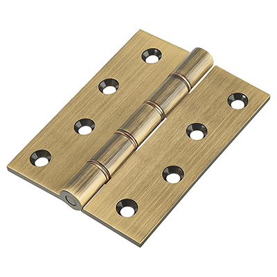 Double Phosphor Bronze Washered Hinge - 100 x 75 x 4mm - Antique Brass