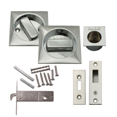 KLÜG Square Flush Handle Set with Latch - Polished Chrome)