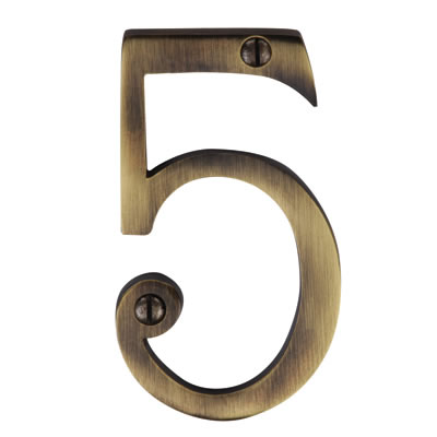 M Marcus 76mm Numeral - 5 - Antique Brass