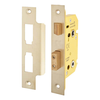 Altro Bathroom Lock - 63mm Case - 44mm Backset - PVD Brass