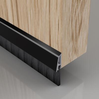 Stormguard Concealed Fixed Bottom Door Brush - 838mm - Black