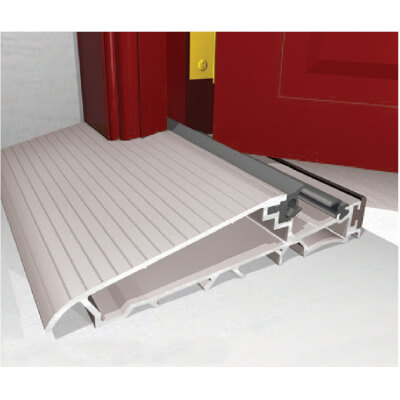 Exitex Mobility Threshold with Long Ramp - 2000mm - Inward Opening Doors - Mill Aluminium