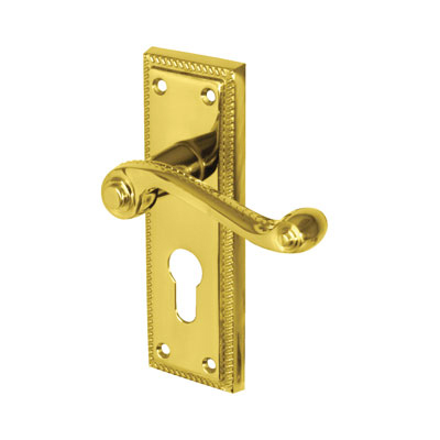 Aglio Georgian Door Handle - Euro Lock Set - Polished Brass