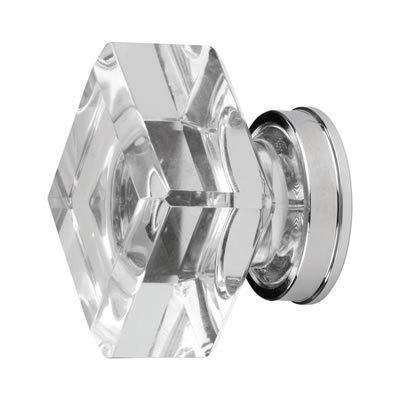 Aglio Square Glass Cabinet Knob - 25mm - Clear