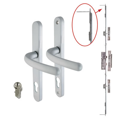 5 Point Multipoint Lock Kit with Balmoral Handle - 35mm Backset - Satin Chrome