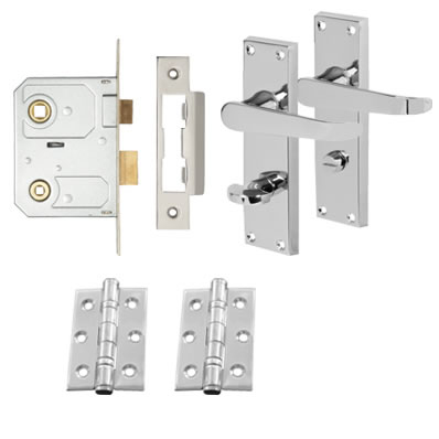 Aglio Victorian Handle Door Kit - Bathroom Lock Set - Polished Chrome