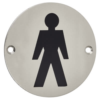 Mens Toilet Sign - 75mm - Polished Stainless Steel)
