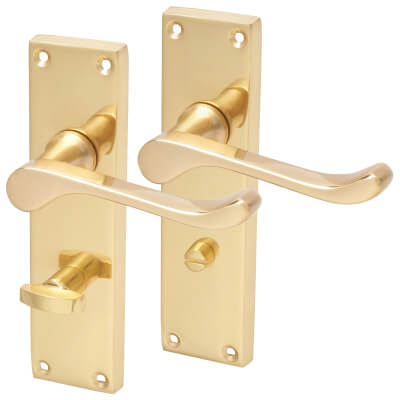 Aglio Victorian Scroll Door Handle - Bathroom Set - Polished Brass