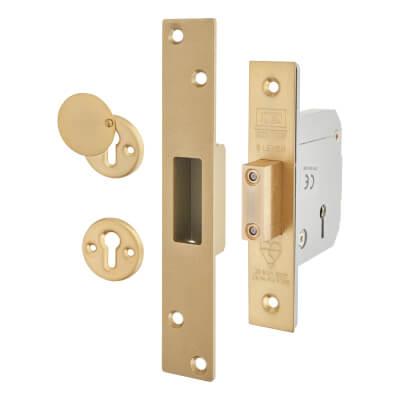 UNION® 3G114E BS3621:2007 Heavy Pattern Deadlock - 67mm Case - 40mm Backset - Polished Brass