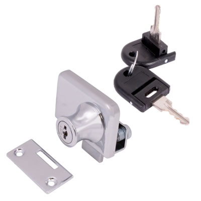 Square Double Glass Door Lock - 25mm - Chrome Plated