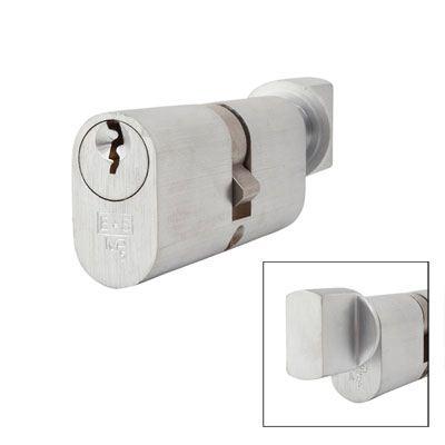 Eurospec MP5 - Oval Cylinder and Turn - 35[k] + 35mm - Satin Chrome  - Keyed Alike