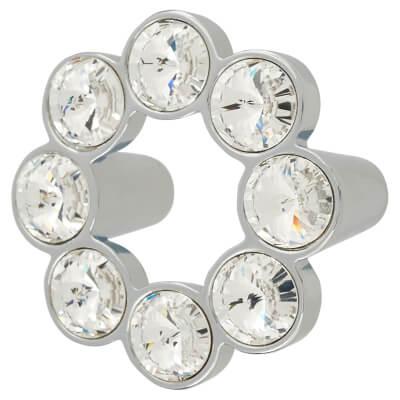 Aglio Venice Circular Crystal Cabinet Handle - 50mm - Chrome