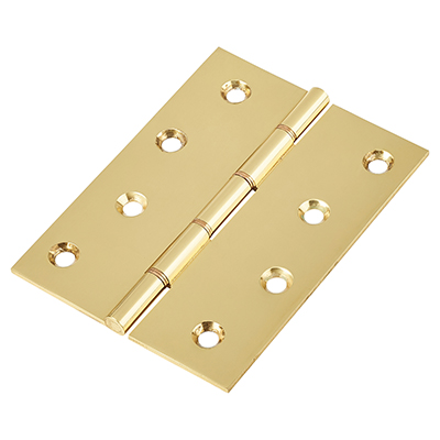 Double Phosphor Bronze Washered Hinge - 100 x 75 x 2.5mm - Polished Brass - Pair