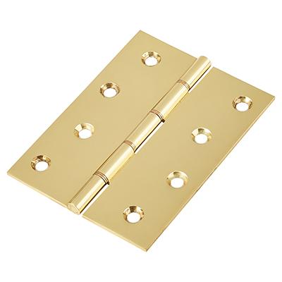 Double Phosphor Bronze Washered Hinge - 100 x 75 x 2.5mm - Polished Brass - Pair