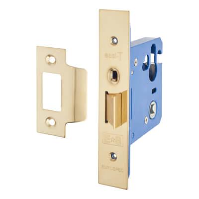 A-Spec Architectural Mortice Nightlatch - 76mm Case - 57mm Backset - PVD Brass
