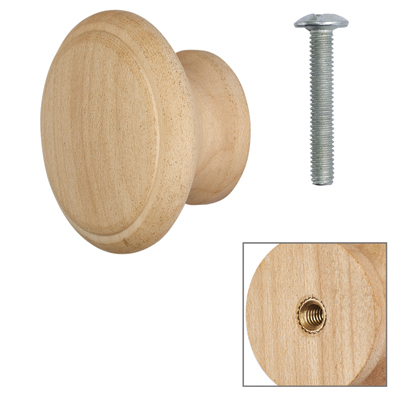 Cabinet Knob - Raw Maple - with Bolt & Insert - 45mm - Pack of 5