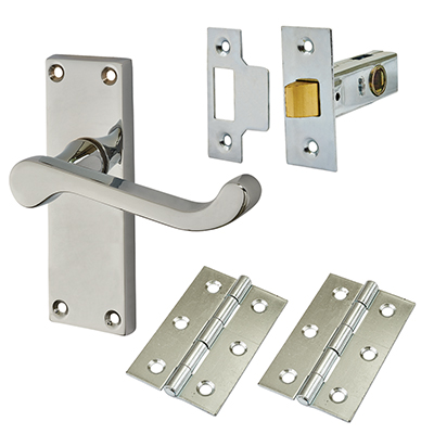 Touchpoint Budget Scroll Door Handle Kit - Latch Set - Polished Chrome)