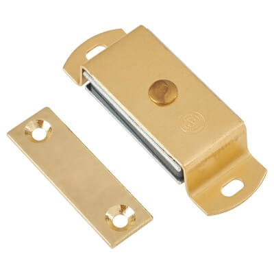 Magnetic Catch - 6.0kg Pull - 60mm - Solid Brass)
