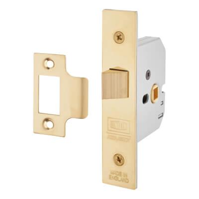 UNION® 2677 Heavy Box Pattern Latch - 65mm Case - 44mm Backset - Polished Brass