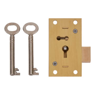 4 Lever Straight Cupboard Lock - 63 x 35mm - Keyed Alike