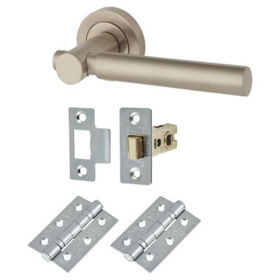 Morello Wimbledon Lever Door Handles on Rose - Door Kit - Satin Nickel