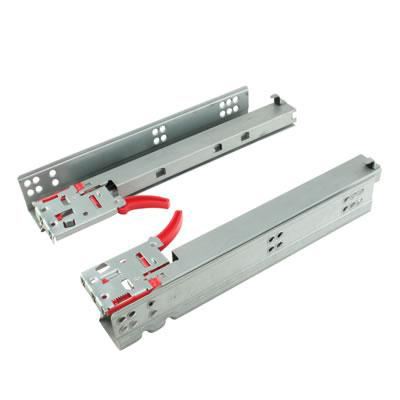 Motion Base Mount Drawer Runner -  Soft Close - Double Extension - 400mm - Zinc