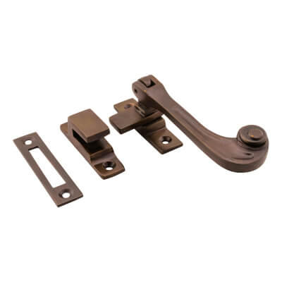 Hampstead Solid Curl Hook & Plate Window Fastener - Soft Antique Bronze