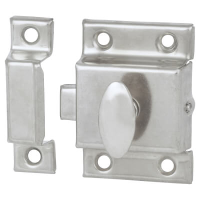 Cupboard Box Catch - 50 x 50mm - Nickel Plated)