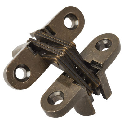 Tago Concealed Hinge - 45 x 13mm - Antique Brass - Pair)